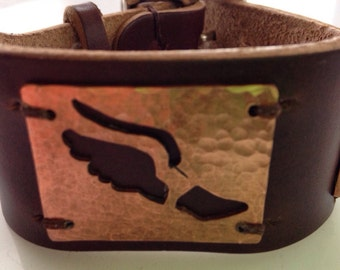 Track and Field Emblem cutout on Howreen Leather Cuff, track and field leather bracelet, runners bracelet, copper leather cuff, MAKAdesigns