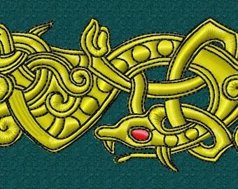 machine embroidery design Viking Norse Jelling style Dragon
