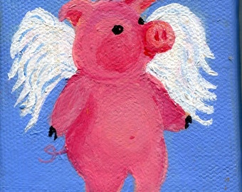 Petite Flying Pig Original painting on mini canvas, easel 3 x 3 SharonFosterArt when pigs fly