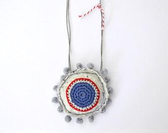 Boho long necklace, pom pom necklace, textile jewelry, navy style jewelry, summer jewelry