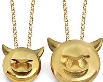 Devil Emoji, Devil Emoji Jewelry, Devil Emoji Necklace, Emoji Jewelry, 24K Gold Devil
