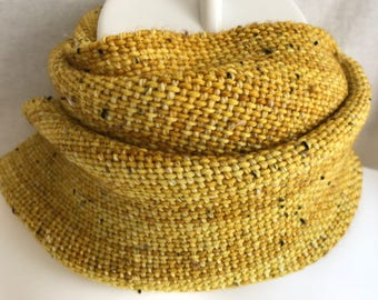 Handwoven Scarf   Gold Donegal Tweed Scarf   Gold Tweed Scarf   Ocher Scarf   One Of A Kind   Hand Dyed Scarf   Gift For Him   Gift For Her