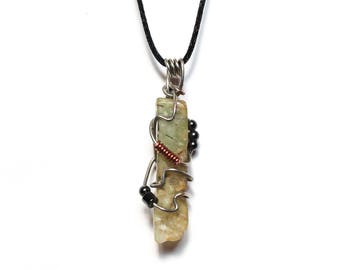 Green Prehnite and Hematite Pendant