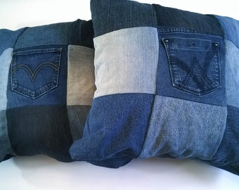 Upcycled Denim Throw Pillow Set - Two Pillow Covers - Jean Pillows - Lined Pillow Cover - Zip Closure - 18 inch Pillow Cover