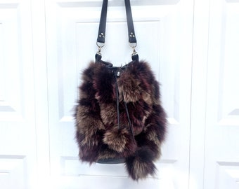 Fox Fur Bag with Black Leather (Bucket Style with Drawstring Top & Shoulder Strap) - Real Fur - Pompom Embellishment, Phone Pocket