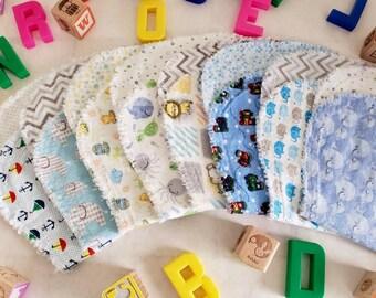 7 Handcrafted Baby Boy Flannel Burp Cloths
