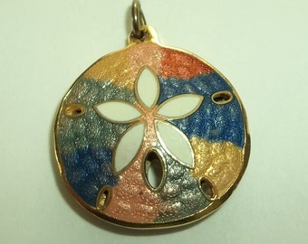 Colorful Gold Enamel Sand Dollar  Pendant