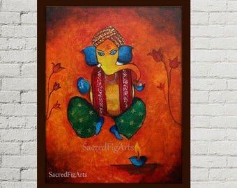 Indian Canvas Art Ready To Hang Ganesh Painting Lord Ganesha Wall