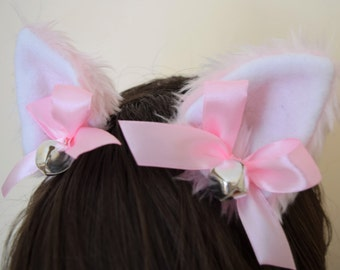 Pink White Bow Silver Bells Furry Cosplay Cat Neko Ears Ribbons Headband Hairband Hair Clips Kawaii Halloween Costume Festival Fursuit Cute