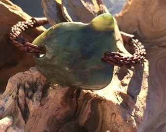 Big Sur Jade and Leather Braided Bracelet