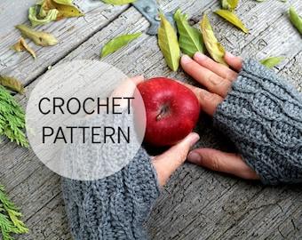 Crochet PATTERN - Pine Tree Wrist Warmers, Crochet Fingerless gloves pattern, Crochet wrist warmers, PDF pattern