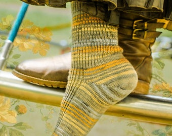Stripey Khaki Brown YELLOW BLUE Woodland Socks - Fall OOAK Heritage Patterned Alpaca Casual Unisex Socks - Rugged Country Warm Dress Socks