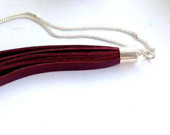 Icelandic lamb leather bolo tassle necklace