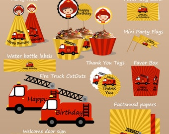 SALE Fire Truck Printable Birthday Set - Printbale PDF - PERSONALIZED