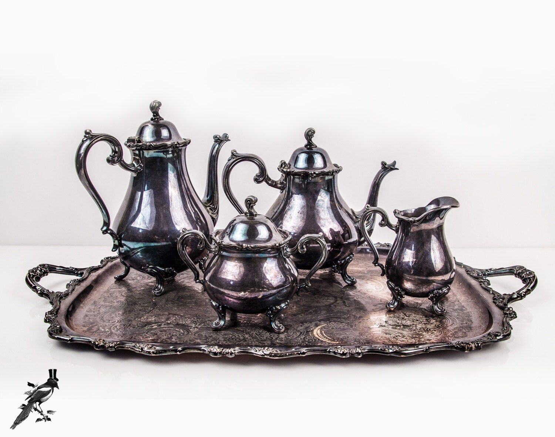 Tee-Set Silber vergoldet Kaffee Kanne Tee Kanne Milchkännchen