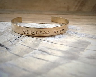 Kindness Wins Brass Message Cuff