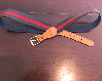 Vintage Preppy 1980's Leather and Woven Belt