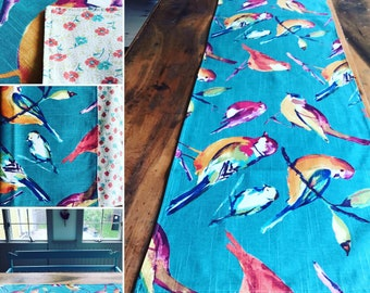 Reversible Table Runner!! Two in one, just flip it! Funhome decor!! Bird theme kitchen
