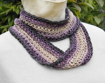 cotton ombre handknit mobius scarf, pale purple with dark edges