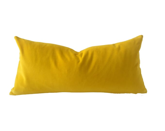 Canary Yellow Decorative Bolster Throw Pillow- Medium Weight Cotton Velvet -10x20 to 12x24 Invisible Zipper Closure- Knife Or Piping Edge