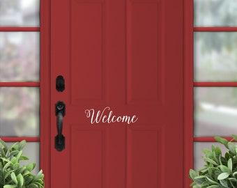 Welcome Front Door Decor Vinyl Decal, Door vinyl, Door Lettering, Door quote decal, window Decal, office entry sign sticker
