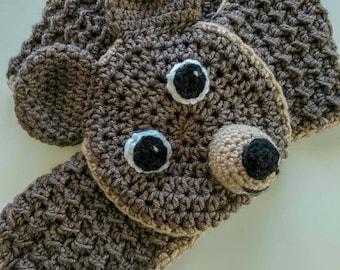 Crochet Animal Scarf, Bear Scarf, Adjustable Scarf, Crochet Baby, Winter Scarf, Neck Warmer, Handmade Scarf, Birthday Gift Scarf