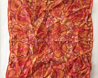 1960s silk square scarf | Vera scarf | tulip print
