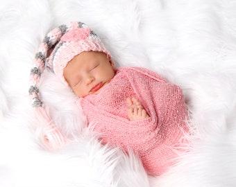 Newborn photo outfit. Newborn girl crochet hat. Newborn photography prop. Newborn crochet prop. Baby hat long tail hat Newborn irl hat