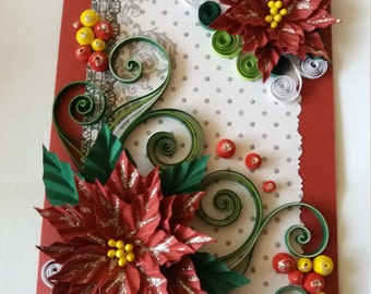 Quilling Christmas card,  Christmas card,  Greeting Chistmas card, Quilling card for Christmas,  Handmade Christmas card,  Christmas flowers