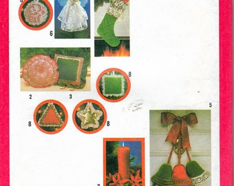 Vintage 1978 Simplicity 8722 Christmas Ornaments, Stocking, Pillow & Skirt Tree Sewing Pattern