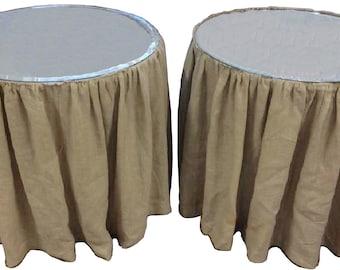 Farmhouse Linen Tables Rustic Wedding Skirted Table Wedding Cake Display Tables Burlap Linen Farmhouse Tables Round Farmhouse Skirted Table
