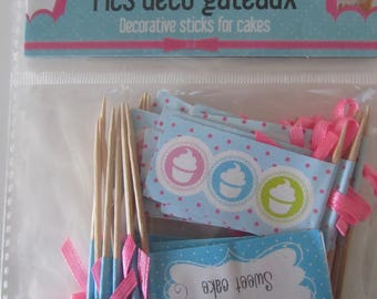 Set of 20 picks deco cakes - pink and blue tones with a satin bow