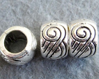 10Pcs/10Pieces Vintage Style  Alloy Metal Cylinder Cask Big Hole Spacers Beads Finding 10mm x 7mm  ja353