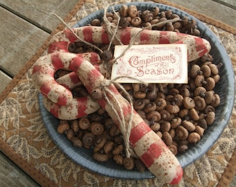 Primitive Grungy Candy Canes Vintage Christmas Winter Bowl Filler Ornies Rustic OFG TEAM
