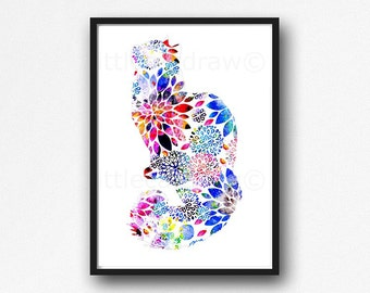 Floral Cat Print Watercolor Painting Print Cat Wall Art Floral Watercolor Cat Lover Gift Bedroom Wall Decor Cat Art Print Unframed
