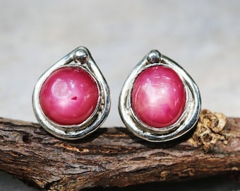Pink Lotus earrings,Oval star ruby gemstone with sterling silver in lotus shape on sterling silver post and backing style