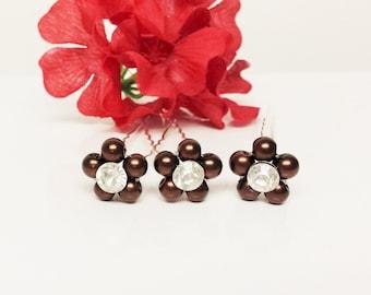Dark Chocolate Brown Pearl Hair Pins - Set of 3 Bridesmaid Hair Pins - Rhinestone Flower Girl Hair Accessories