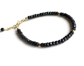 Blue sapphire bracelet, gold sapphire bracelet, September birthstone, sapphire jewelry, blue stacking bracelet