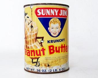 """1960s Sunny Jim Peanut Butter Tin - 36 Oz Can """"Fun Retro Graphics"""""""