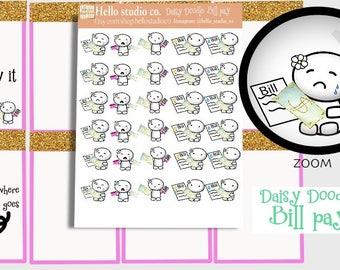 Bill Pay planner stickers Doodle stickers Emoti stickers