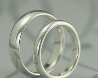 Comfort Fit Wedding Band Set Silver Ring Set His and Hers Bands Court Style Rings Silver Wedding Bands Silver Wedding Ring Recycled Handmade