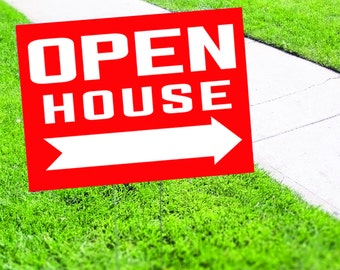 Open House with Right Arrow Yard Sign