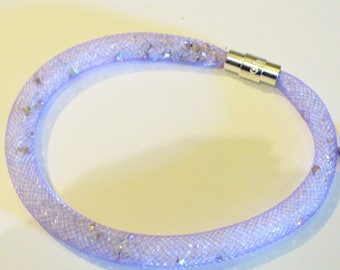 Purple mesh bracelet Kit and rhinestone - 20cm