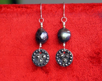 Antique Assemblage Earrings with Black Kasumi Like Pearls and Steel Cut Buttons