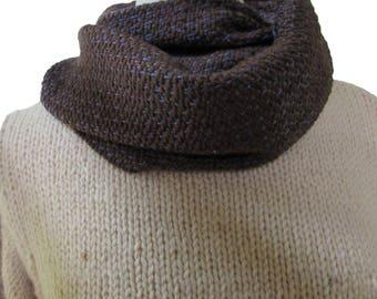 Brown silk/marina wool scarf