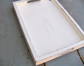 Serving Tray 14x10  White Shabby chic Home decor Accessory coffee table Office and Home Organization Party Table