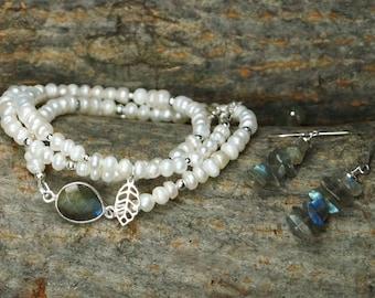 Sterling Silver, Fresh Water Pearl Wrap Bracelet And Earrings