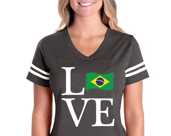 Love Brazil  Womens V-Neck Fine Jersey Tee