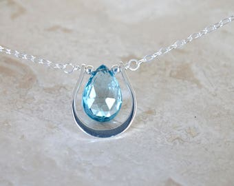 Blue topaz necklace Mother's Day Gift for her Genuine Blue topaz Blue briolette necklace gold necklace topaz briolette gemstone necklace