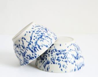 two small spotty blue bowls, handmade, wheel thrown, ceramic, pottery, stoneware, glazed